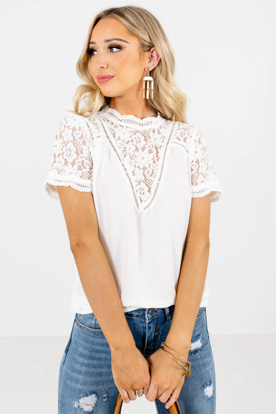 White Keyhole Back Boutique Blouses for Women