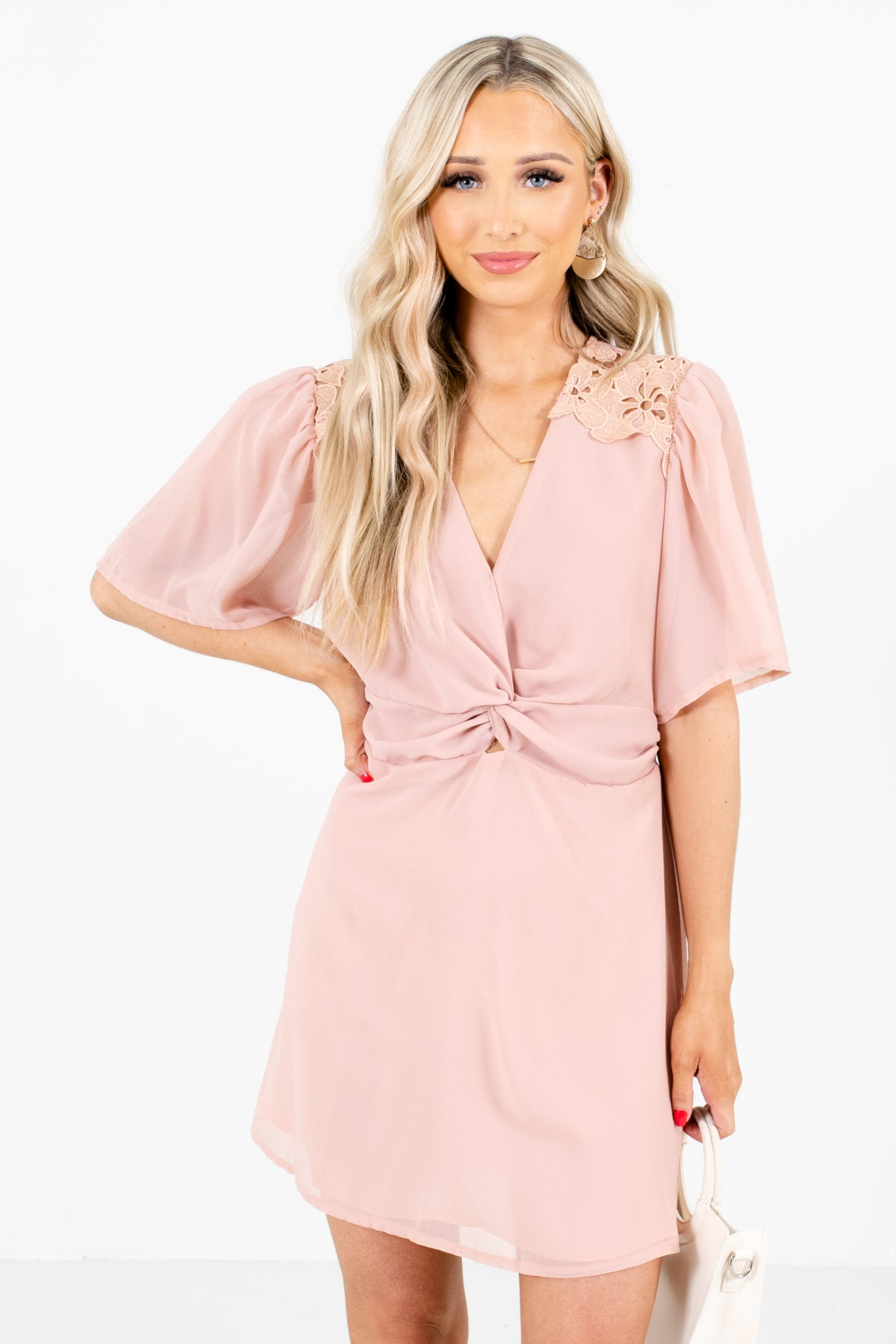 Pink Infinity Knot Detailed Boutique Mini Dresses for Women