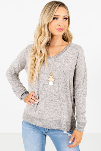 Taupe Brown V-Neckline Boutique Tops for Women