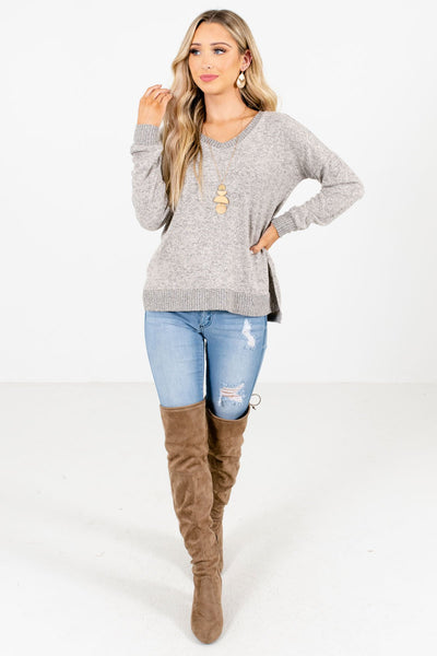 Taupe Brown Cute and Comfortable Boutique Tops for Women
