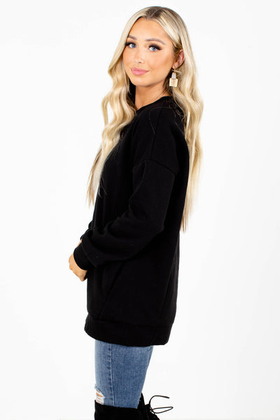 Women's Black High-Quality Boutique Pullover