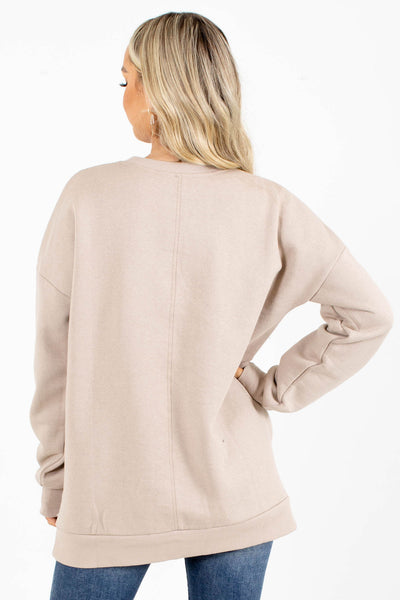 Women's Brown Boutique Pullover with Pockets