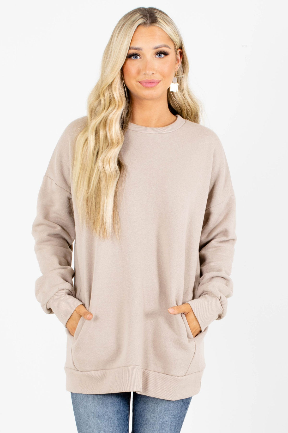 Beige Round Neckline Boutique Pullovers for Women
