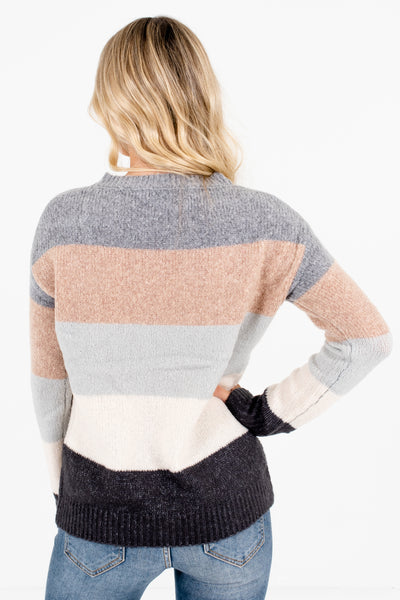 Women's Gray High-Quality Knit Material Boutique Sweaters