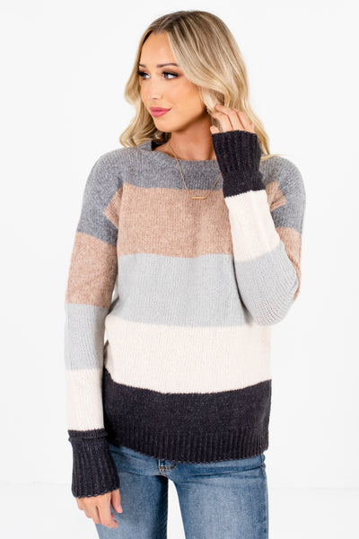 Gray Multi Striped Relaxed Cozy Fit Boutique Sweaters for Women