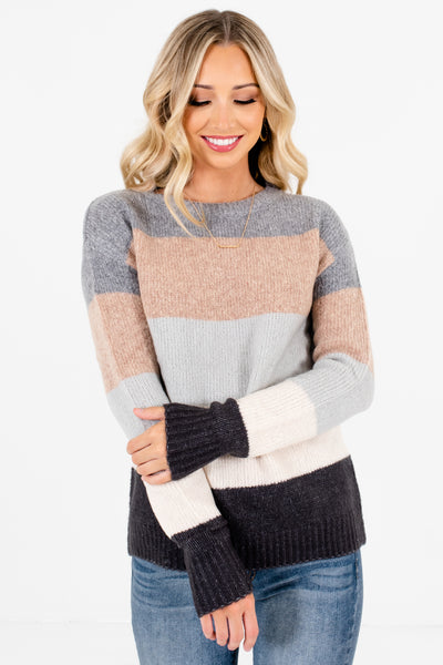 Gray Multicolored Striped Pattern Boutique Sweaters for Women