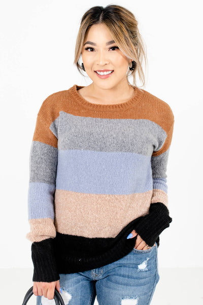 Light Blue Multicolored Striped Pattern Boutique Sweaters for Women