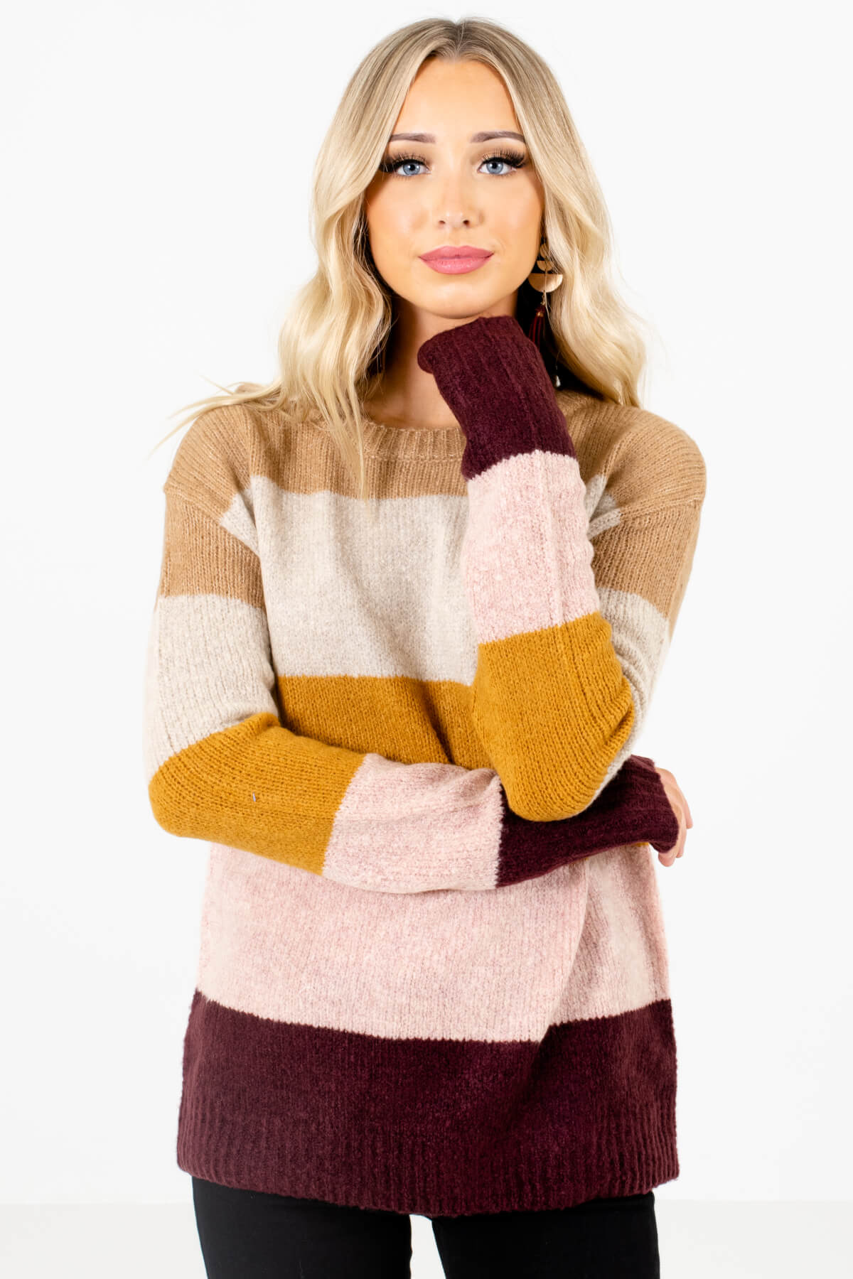 Mustard Yellow Multicolored Striped Pattern Boutique Sweaters for Women