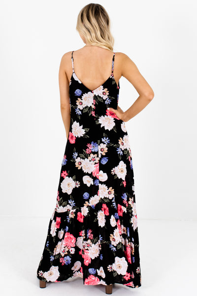 Black Coral Periwinkle Blush Floral Print Button Up Maxi Dresses