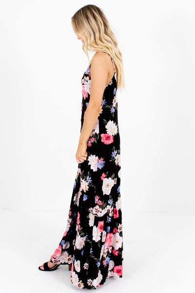 Black Coral Periwinkle Green Blush Floral Print Button-Up Maxi Dresses