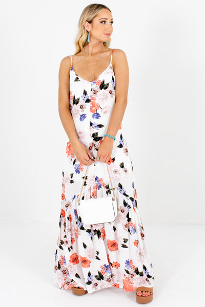 White Coral Periwinkle Blush Floral Print Button-Up Maxi Sundresses