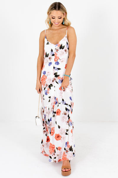 White Floral Print Button-Up Maxi Dresses Affordable Online Boutique