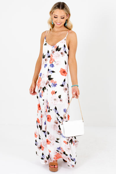 White Coral Green Purple Floral Print Button-Up Maxi Dresses