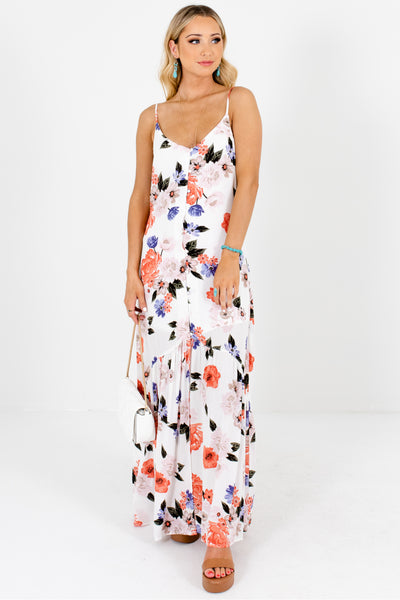 White Floral Print Button Up Maxi Dresses Affordable Online Boutique
