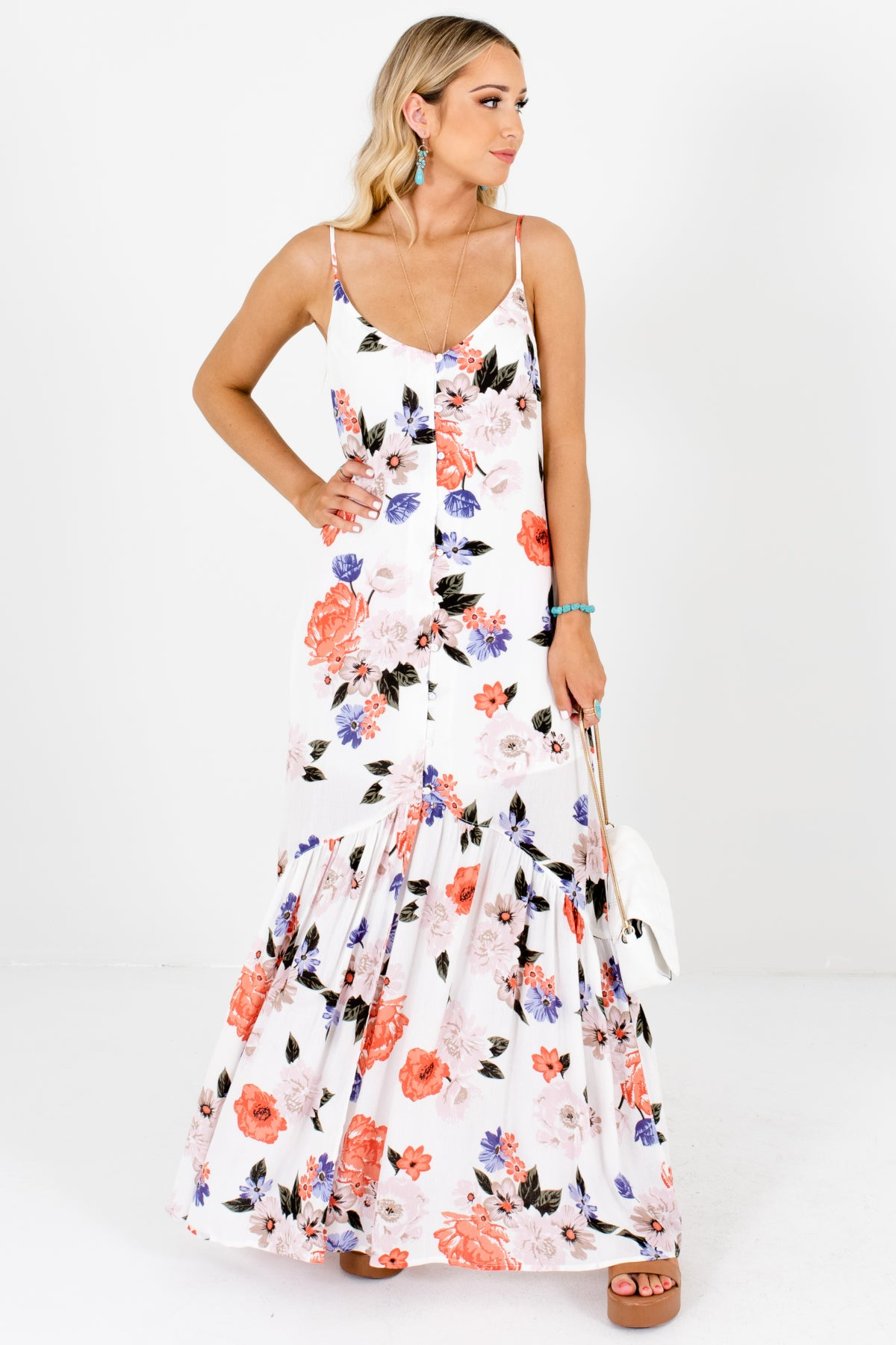 White Coral Periwinkle Blush Floral Print Button-Up Maxi Dresses