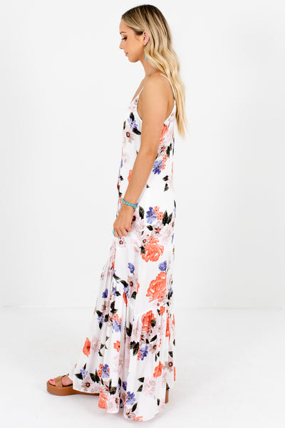 White Coral Purple Pink Floral Print Button-Up Maxi Dresses for Women