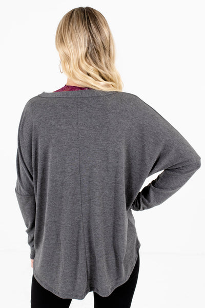 Women's Charcoal Gray Tie Front Detail Boutique Tops