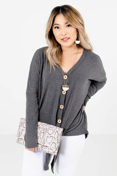 Charcoal Gray Cute and Comfortable Boutique Tops for Women