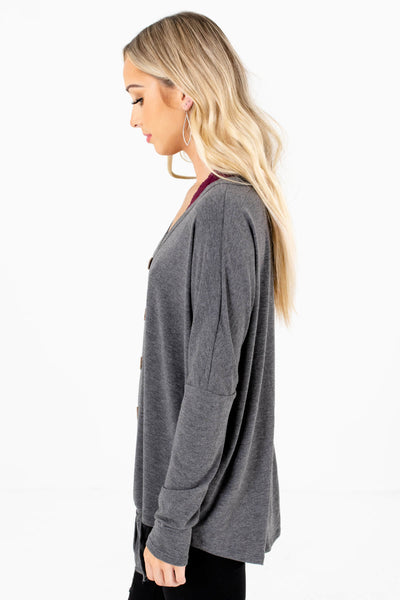 Charcoal Gray Long Sleeve Boutique Tops for Women