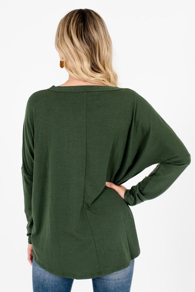 Women's Olive Green Tie Front Detail Boutique Tops