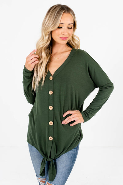 Olive Green Wooden Button-Up Front Boutique Tops for Women