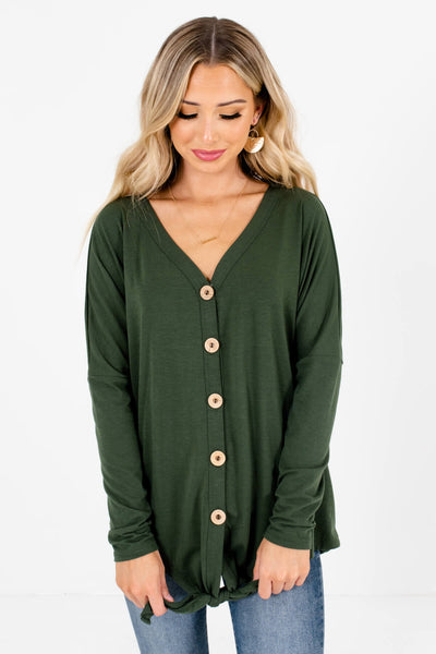 Women's Olive Green Oversized Fit Boutique Tops