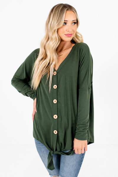 Women's Olive Green Long Sleeve Style Boutique Tops