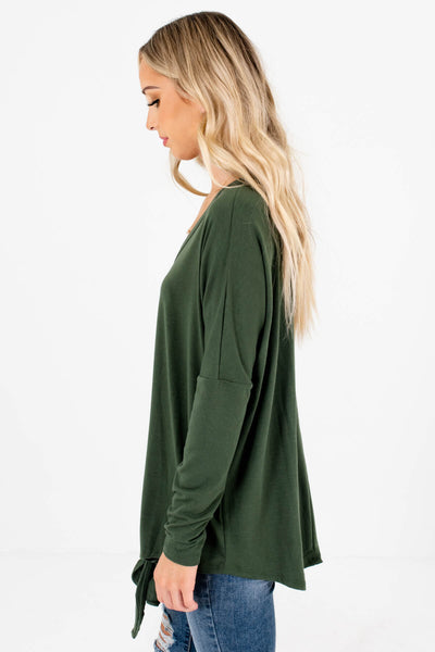 Olive Green High-Low Hem Boutique Tops for Women