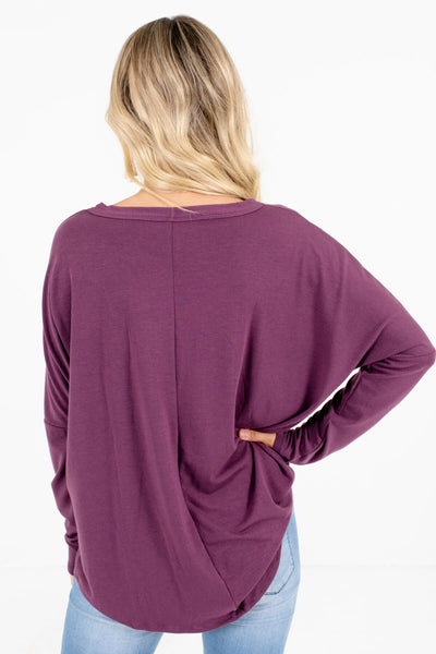 Women's Purple Tie Front Detail Boutique Tops
