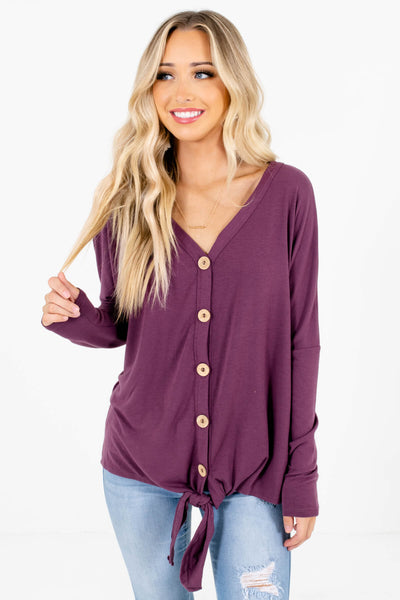 Purple Button-Up Front Boutique Tops for Women