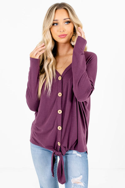 Women's Purple High-Low Hem Boutique Tops