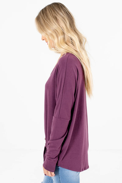 Purple Long Sleeve Boutique Tops for Women