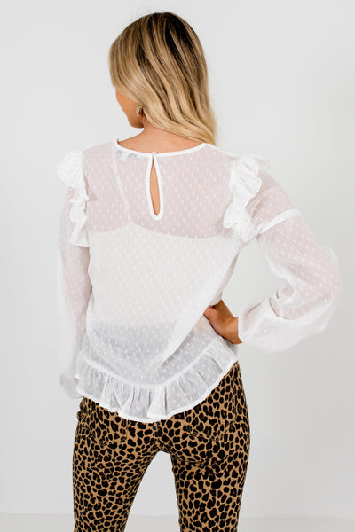 Women's White Crochet Lace Detailed Boutique Blouse