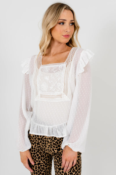 White Cute and Comfortable Boutique Blouses for Women