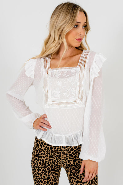 Sheer White Polka Dot Patterned Boutique Blouses for Women