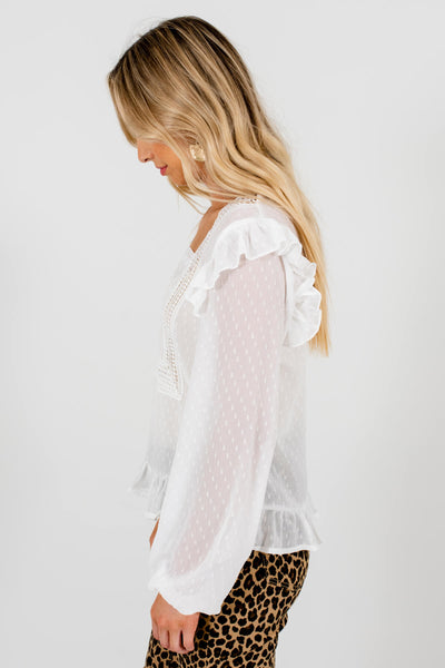 White Embroidered Detailed Bodice Boutique Blouses for Women
