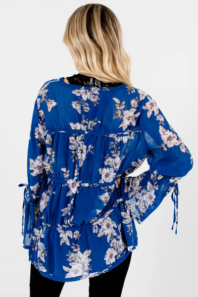 Royal Blue Grayscale Floral Tiered Blouses Affordable Online Boutique