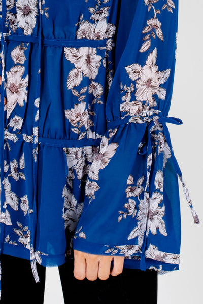 Royal Blue Floral Oversized Bohemian Tiered Blouses with Self-Tie Details