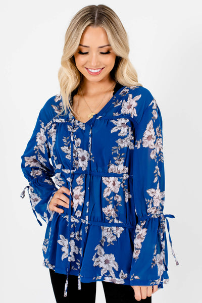 Royal Blue Floral Semi-Sheer Tiered Blouses Affordable Online Boutique