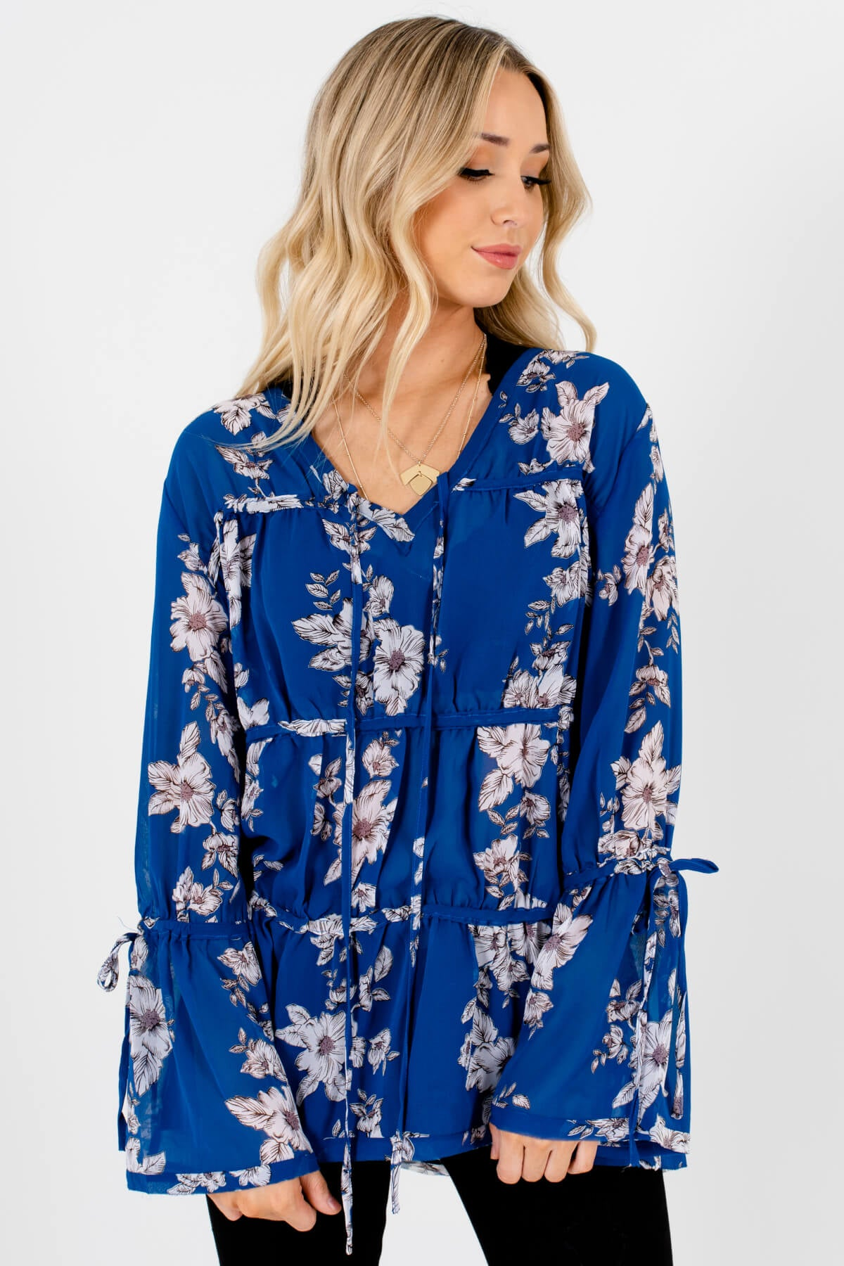 Royal Blue Floral Tiered Bohemian Blouses Affordable Online Boutique