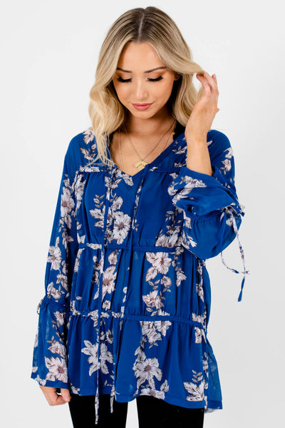 Royal Blue Grayscale Floral Bohemian Tiered Blouses for Women