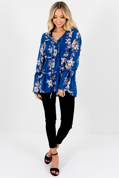Royal Blue Floral Bohemian Tiered Semi-Sheer Blouses for Women