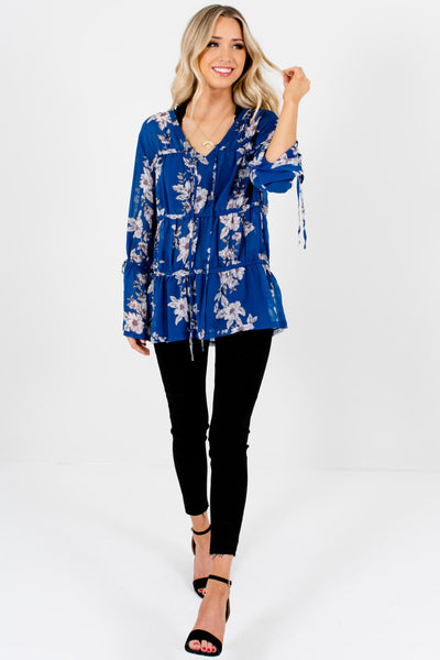Royal Blue Floral Print Semi-Sheer Oversized Tiered Blouses