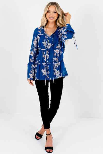 Royal Blue Floral Print Tiered Blouses with Self-Tie Details
