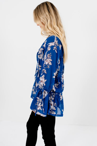 Royal Blue Grayscale Floral Print Tiered Blouses for Women