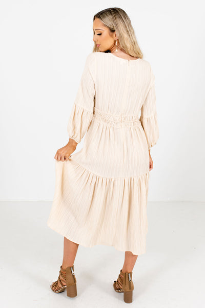 Women's Cream High-Quality Textured Material Boutique Midi Dress