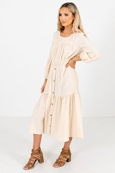 Cream Long Sleeve Boutique Midi Dresses for Women