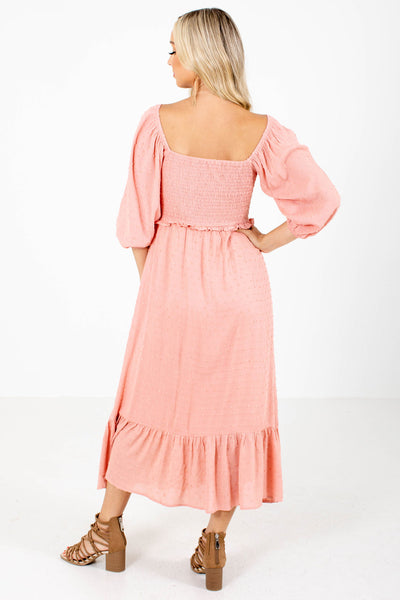 Women's Pink Swiss Dot Material Boutique Maxi Dress