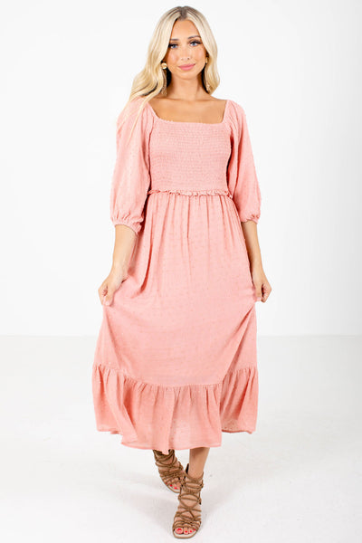 Pink Smocked Bodice Boutique Maxi Dresses for Women