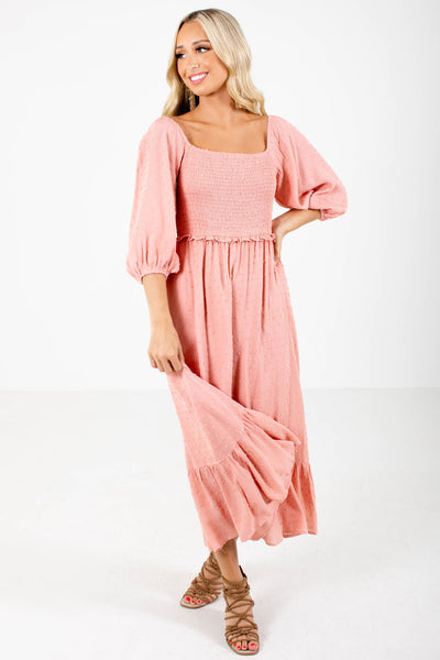Women's Pink Partially Lined Boutique Maxi Dress